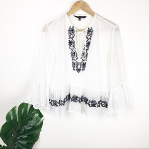 Walter Backer | Double tie sheer blouse size M